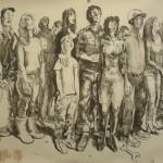 Alessandro Bazan, Popolo, carboncino su carta (2014) 300x400 cm