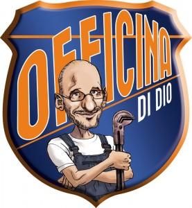 Il logo dell'Officina Di Dio con la caricatura del suo proprietario Alessandro