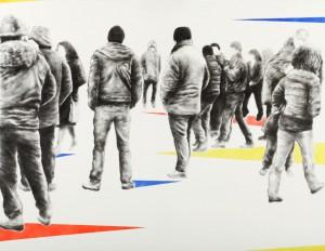Sfumature Sociali -132 -100 cm-acrilico su tela - 2016 di Tommaso Chiappa
