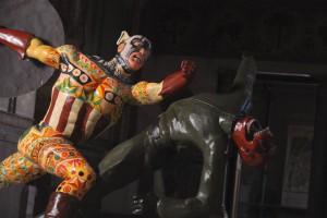 Domenico Pellegrino - Capitan America/Hermes 2011 scultura stucco policromo acrilico e pittura a olio polychrome stucco sculpture acrylic and oil painting ph Alessandro di Giugno