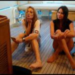 L'attrice hollywoodiana, Lindsay Lohan con la modella palermitana Jennifer Casa in barca in Sardegna