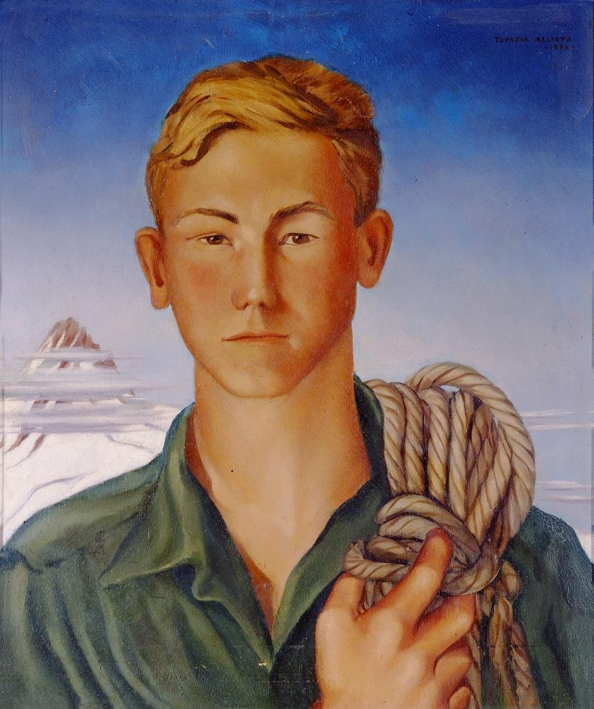 TOPAZIA ALLIATA, Ritratto di alpinista (Fosco Maraini), 1933, olio su tavola di legno, 73x63, Coll. Eredi Maraini LD