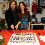 Ernesto Graditi e Francesca Ferrara tagliano la torta stampa Dada Design
