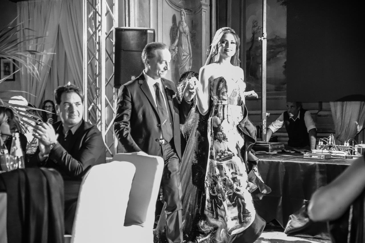 Il presidente Luigi Auletta e l'abito Palermo di Impero Couture