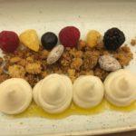 Cremoso alla mandorla Tuono di Avola con limone, frolla integrale del pastificio Mogavero e gel di mandarino