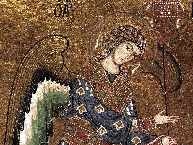 PALERMO Chiesa di Santa Maria dell'Ammiraglio, mosaici del presbiterio, Arcangelo Michele, particolare.